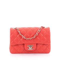 Chanel Classic Single Flap Bag Quilted Lambskin Mini Red
