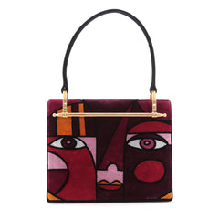 Prada Cubist Top Handle Bag Printed Velvet Red 2261805