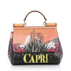 Dolce & Gabbana Miss Sicily Handbag Printed Leather Medium Orange 2264203