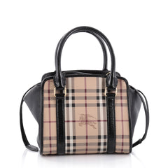 Burberry Dinton Convertible Satchel Haymarket Coated Canvas and Leather Small Brown 2265301