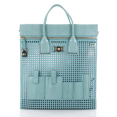 Versace Front Pocket Convertible Tote Perforated Patent 2265801