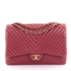 Chanel Classic Double Flap Bag Chevron Lambskin Maxi Red