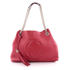 Gucci Soho Shoulder Bag Chain Strap Leather Medium Red 2268501