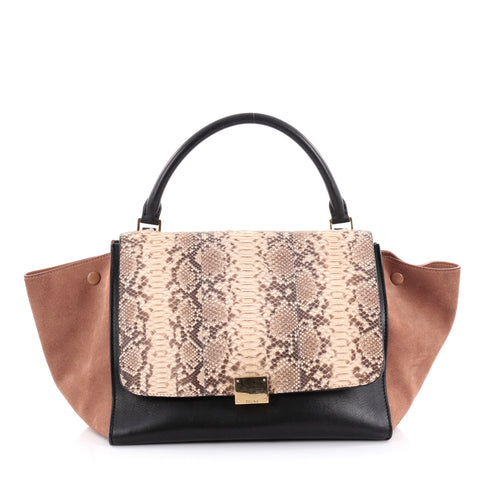 aecef0d876 Buy Celine Trapeze Handbag Python Medium Black 2269301 – Rebag