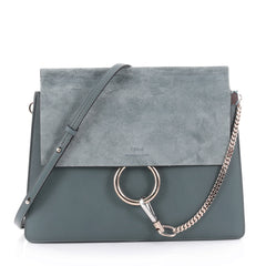 Chloe Faye Shoulder Bag Leather and Suede Medium Blue 2272001