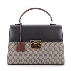 Gucci Padlock Top Handle Bag GG Canvas and Leather Brown 2273401