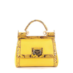 Dolce & Gabbana Miss Sicily Handbag Leather with Python Mini Yellow 2274301
