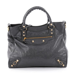 Balenciaga Velo Giant Studs Handbag Leather Gray 2275807