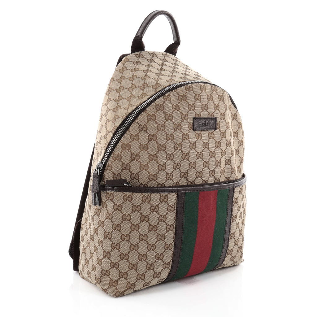 5d26f1f0d6c Buy Gucci Web Backpack GG Canvas Medium Brown 2280801 – Rebag