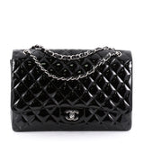 Chanel Classic Single Flap Bag Quilted Patent Maxi Black 228440