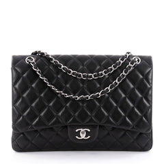 Chanel Classic Double Flap Bag Quilted Lambskin Maxi Black 2284402