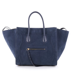 Celine Phantom Handbag Suede Medium Blue 2286006