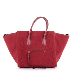 Celine Phantom Handbag Suede Medium Red 2290902