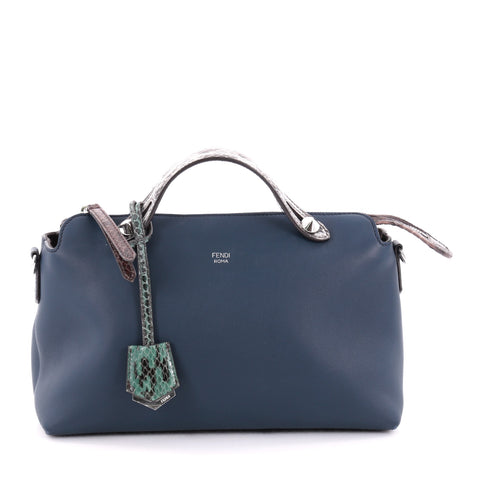 900b347538 Buy Fendi By The Way Satchel Leather with Python Small Blue 2291901 – Rebag