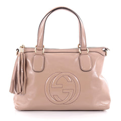 Gucci Convertible Zip Top Handle Bag Patent Medium Pink 2295801