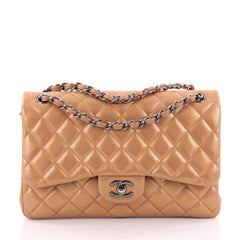 Chanel Classic Double Flap Bag Quilted Caviar Jumbo Brown 2299802