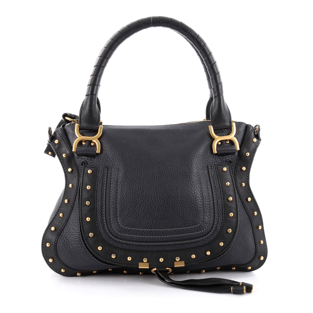 Handbags Chloe Marcie Satchel Studded Leather Medium174840000247 on oscar de la renta leather handbags