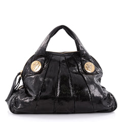 Gucci Hysteria Dome Satchel Snakeskin Large Black 2300201