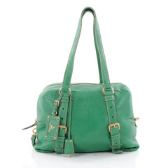 Prada Belted Satchel Vitello Daino Medium Green 2300302