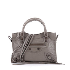 Balenciaga City Classic Studs Handbag Leather Mini Gray 2300303