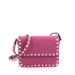 Valentino Rockstud Flap Crossbody Bag Leather Small Purple 2301502