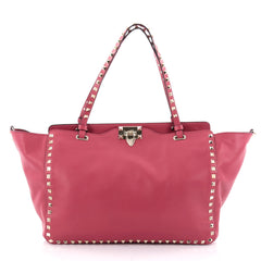Valentino Rockstud Tote Soft Leather Medium Pink 2302801