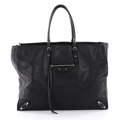Balenciaga Papier A4 Classic Studs Handbag Leather Medium Black 2303102