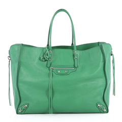 Balenciaga Papier A4 Zip Around Classic Studs Handbag Leather Large Green 2303501