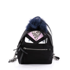 Fendi Monster Backpack Nylon with Leather and Fur Mini Black 2304202
