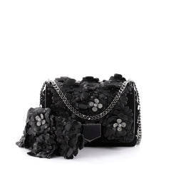 Jimmy Choo Lockett Chain Shoulder Bag Floral Embellished Black 2309701