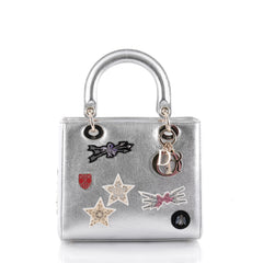 Christian Dior Lady Dior Handbag Patch Embellished Silver 2310401