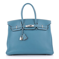 Hermes Birkin Handbag Bicolor Clemence with Palladium Hardware 35 Blue 2310601