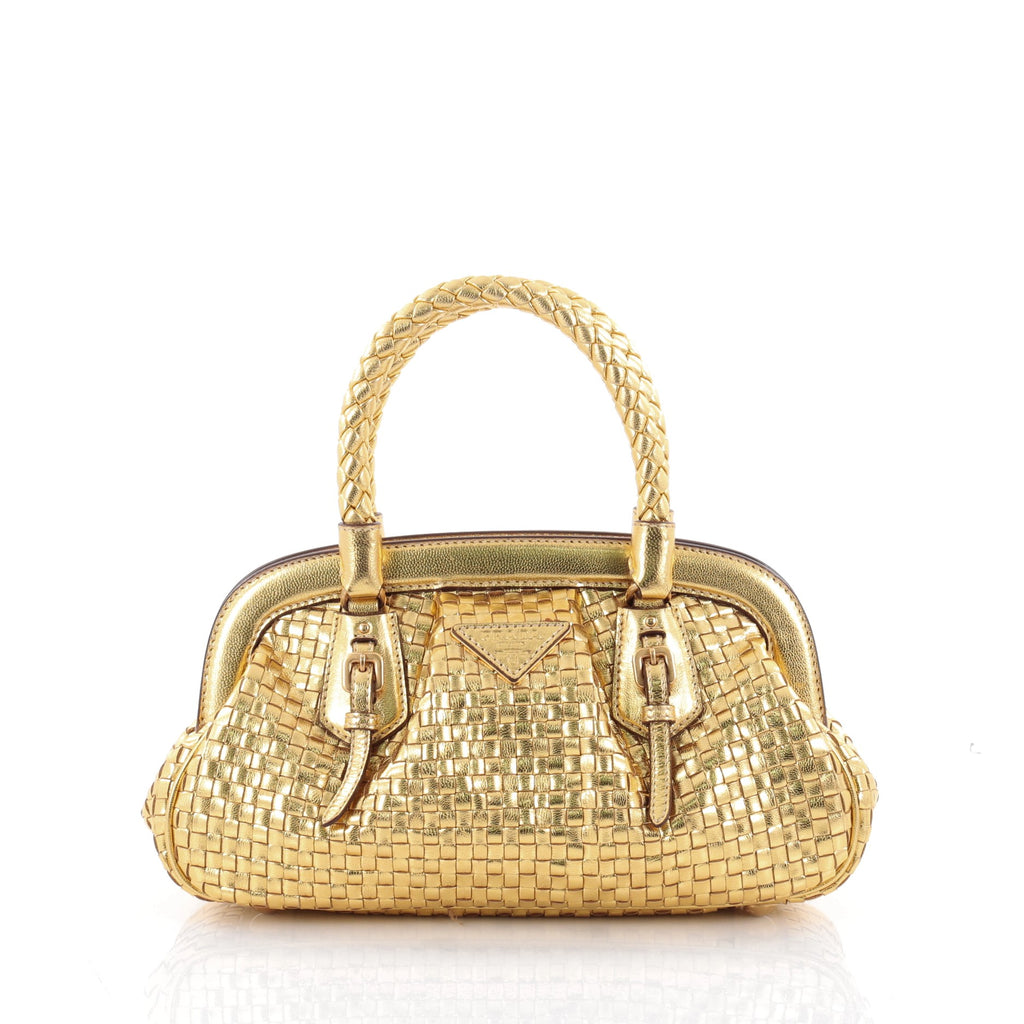 7197140a3c22 ... official buy prada madras frame bag woven leather mini gold 2310702  rebag 36f70 febd9