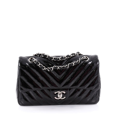 ef0dafeed874 Buy Chanel Classic Single Flap Bag Chevron Patent Medium 2316205 – Rebag