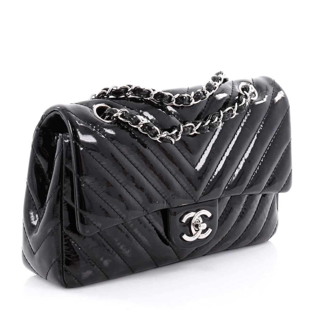 e419f076496d Buy Chanel Classic Single Flap Bag Chevron Patent Medium 2316205 – Rebag