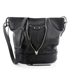 Balenciaga Papier Drop Bucket Bag Leather Black 2321302