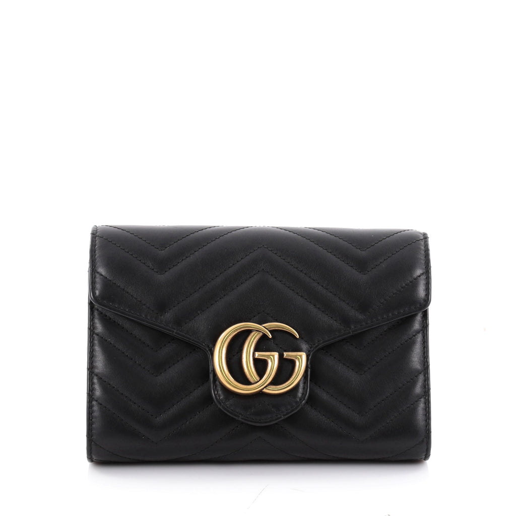 bc9c1f35db8 Buy Gucci GG Marmont Chain Wallet Matelasse Leather Mini 2322201 – Rebag
