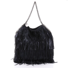 Stella McCartney Falabella Fringe Tote Faux Suede Large Blue 2322405