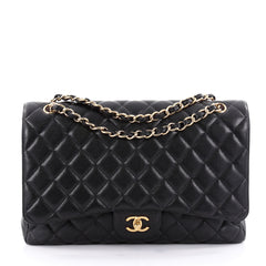 Chanel Classic Single Flap Bag Quilted Caviar Maxi Black