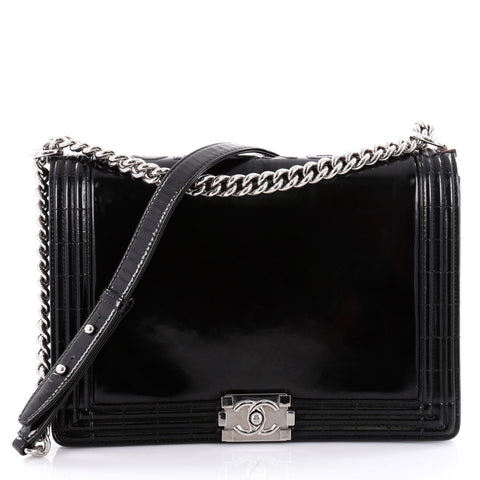 9ad171cb7091 Buy Chanel Reverso Boy Flap Bag Glazed Calfkskin Large Black 2323801 – Rebag