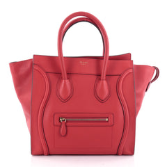 Celine Luggage Handbag Grainy Leather Mini Red 2325003