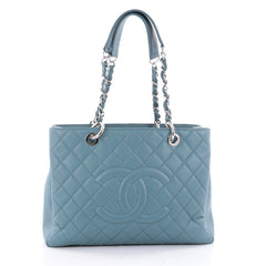Chanel Grand Shopping Tote Quilted Caviar Blue 2325101