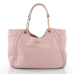 Salvatore Ferragamo Betulla Chain Tote Leather Medium Pink 2325102