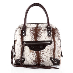 Balenciaga Mini Bowling Classic Studs Handbag Fur Brown 2325401