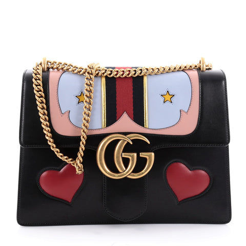 b49e6c14862 Buy Gucci Web Heart Marmont Chain Shoulder Bag Leather 2327201 – Rebag