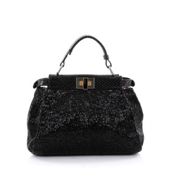 Fendi Peekaboo Handbag Beaded Python Mini Black 2328202