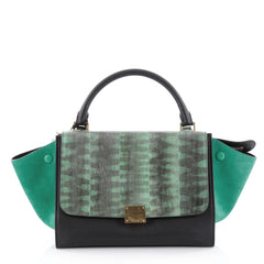 Celine Tricolor Trapeze Handbag Tiger Snake and Leather Green 2329811