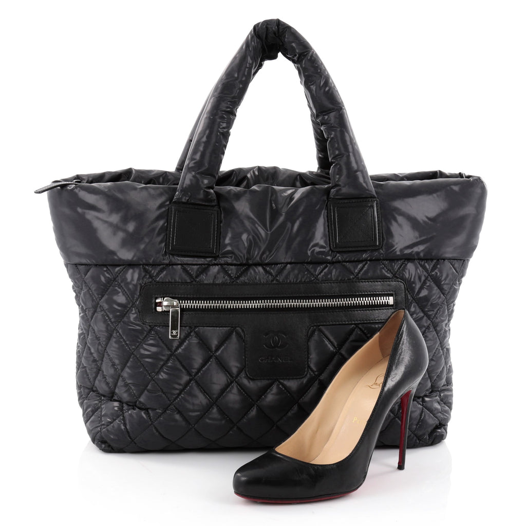19202a92db490f Buy Chanel Coco Cocoon Zipped Tote Quilted Nylon Large Black 2332201 ...