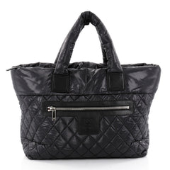Chanel Coco Cocoon Zipped Tote Quilted Nylon Large Black 2332201