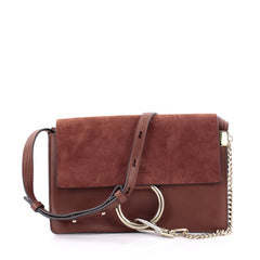 Chloe Faye Shoulder Bag Leather and Suede Small Red 2332501